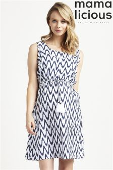Mamalicious Maternity Nursing Drawstring Frill Detail Dress