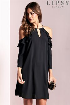 Lipsy Ruffle Cold Shoulder Dress