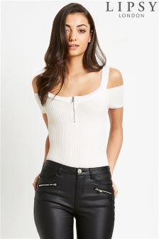 Lipsy Cold Shoulder Zip Top