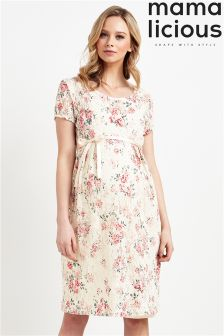 Mamalicious Maternity Floral Print Lace Dress