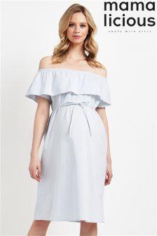 Mamalicious Maternity Bardot Stripe Dress