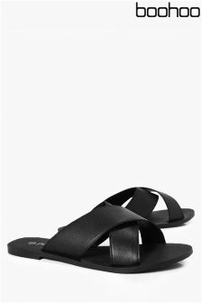 Boohoo Cross Strap Leather Sliders