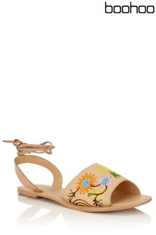 Boohoo Embroidered Ankle Wrap Strap Sandals