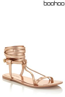 Boohoo Wrap Strap Leather Sandals
