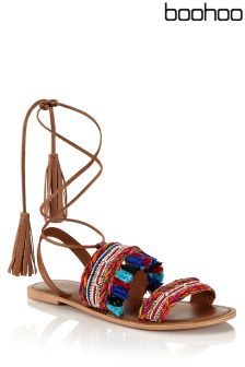 Boohoo Embroidered Leather Sandals