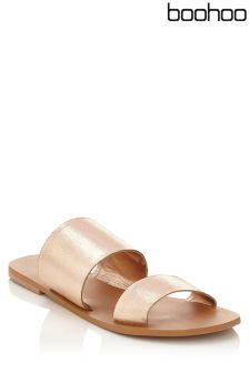Boohoo Leather Double Strap Sliders