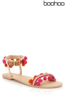 Boohoo Pom Pom Trim Sandals
