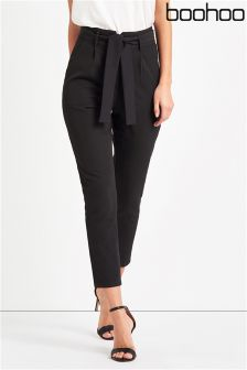 Boohoo Petite High Waist Tailored Slim Fit Trousers