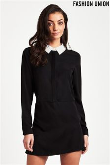 Fashion Union Contrast Collar Shirt Dress