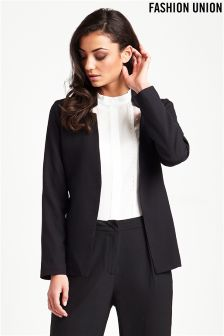 Fashion Union Notch Neck Tie Blazer