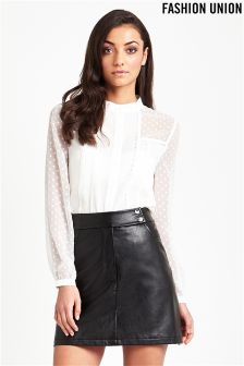Fashion Union Faux Leather Mini Skirt