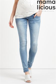 Mamalicious Maternity Light Scratch Slim Jeans