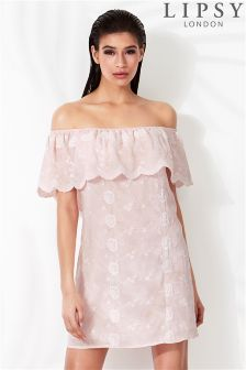 Lipsy Embroidered Bardot Dress