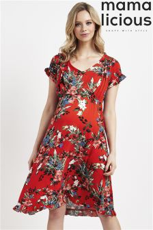 Mamalicious Maternity Nursing Cap Sleeve Floral Dress