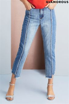 Glamorous Cropped Frayed Panel Skinny Jeans
