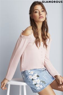 Glamorous Off The Shoulder Button Up Top