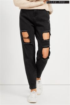 Noisy May Straight Fit Ripped Jeans