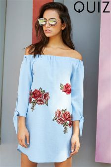 Quiz Embroidered Tie Sleeve Bardot Dress