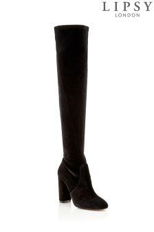 Lipsy Velvet Over The Knee Boots