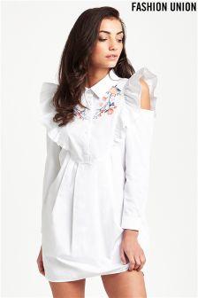 Fashion Union Embroidered Frill Shirt Dress