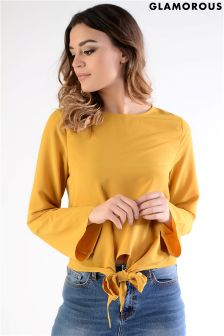 Glamorous Tie Front Detail Top