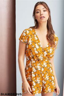 Glamorous Printed Wrap Front Playsuit