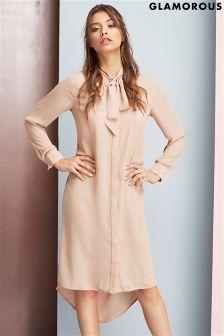 Glamorous Pussybow Shirt Dress