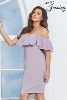 Jessica Wright Ruffle Bardot Bodycon Dress