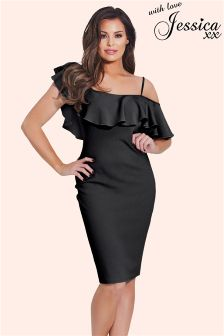 Jessica Wright One Shoulder Ruffle Bodycon Dress