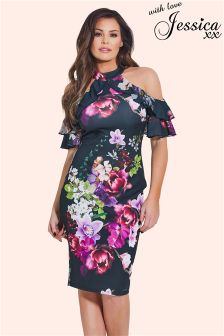 Jessica Wright Floral Frill Bodycon Dress