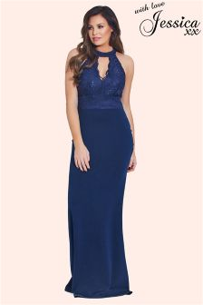 Jessica Wright Choker Detail Maxi Dress