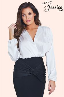 Jessica Wright Long Sleeve Satin Wrap Bodysuit