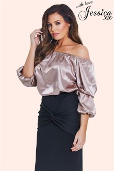 Jessica Wright Bardot Ruched Top