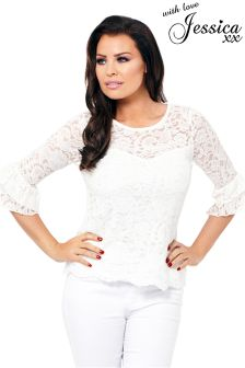 Jessica Wright Carmel Black Lace Blouse