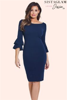 Jessica Wright Ruffle Sleeve Bodycon Dress