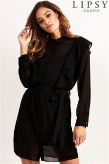 Lipsy Ruffle Shirt Dress