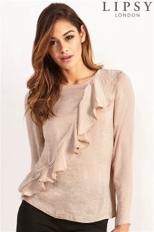 Lipsy Long Sleeve Ruffle Blouse
