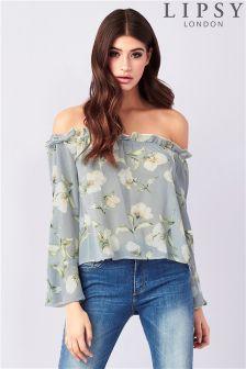 Lipsy Floral Print Bardot Top