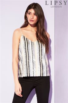 Lipsy Sequin Stripe Cami Top