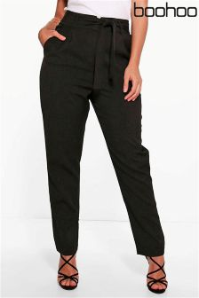 Boohoo Plus High Waist Tailored Slim Fit Trousers