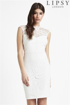 Lipsy Lace Overlay Bodycon Dress