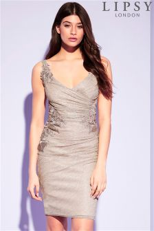 Lipsy Foil Plisse Appliqué Bodycon Dress