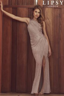 Lipsy Foil Plisse One Shoulder Maxi Dress