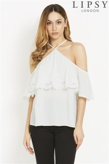 Lipsy Embroidered Cutout Halter Cold Shoulder Top