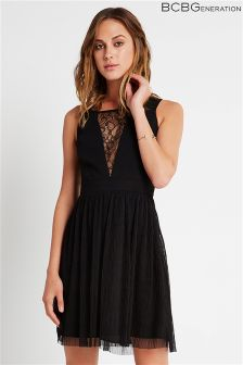 BCBGeneration Lace Plunge Plisse Dress