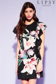 Lipsy Printed Ruffle Front Shift Dress