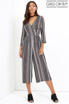 Girls On Film Monochrome Striped Jumpsuit