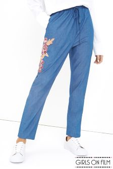 Girls On Film Denim Embroidered Trousers