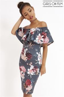 Girls On Film Floral Print Frill Bandeau Dress
