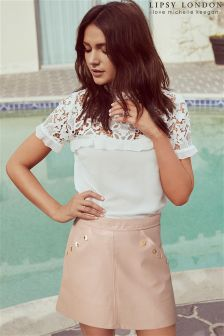 Lipsy Love Michelle Keegan Pu Button Mini Skirt